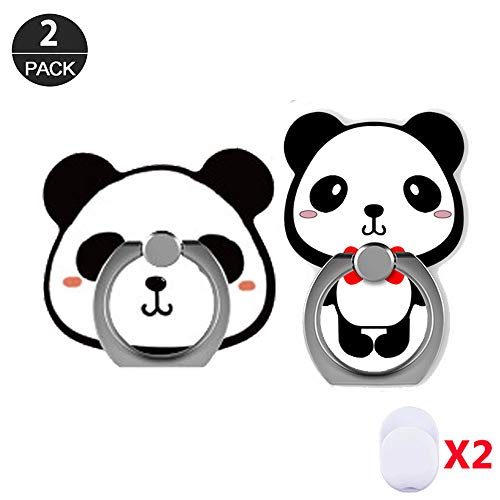 ZOEAST(TM) 2 Pack Phone Ring Grip Cute Panda Kung Fu Cat Bear Universal 360° Adjustable Holder Car Desk Hook Stand Stent Mount Kickstand Compatible with iPhone X Plus Samsung iPad Tablet (2pcs Panda)