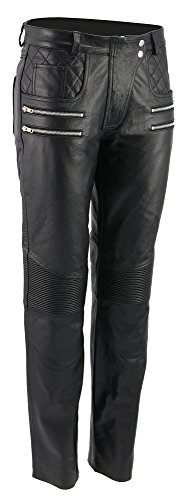 M-Boss Motorcycle Apparel-BOS26500-BLACK-Women Vixen Leather Motorcycle Pants w/Quilted Belt Detailing-BLACK-8 ()