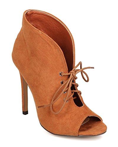 Liliana Women Faux Suede Peep Toe Lace Up Slit Collar Stiletto Bootie FA41 - Tan (Size: 8.0)