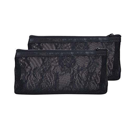 JETJET-BOND Accessory Handbag Organizer Set Black Lace Transparent Insert Purse Clutch Zipper Bag (Black set of 2)-BOND JJ17 Black Lace Transparent handbag Organizer insert Purse Clutch Zipper Bag