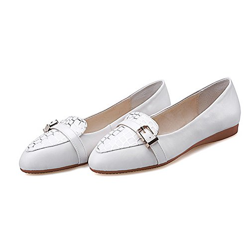 Toe Pu Pull Shoes Closed On Low Women's Pointed Pumps VogueZone009 Heels White Assorted Color Xq6Hxn