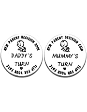New Parent Decision Coin Baby Gifts for Dad Mom Pregnancy Birthday Gifts for First Time New Daddy Mommy to Be Women Men Double-Sided Christmas Birthday Gift