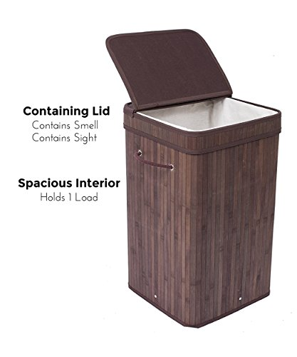BirdRock Home Square Laundry Hamper with Lid and Cloth Liner | Bamboo | Espresso | Easily Transport Laundry Basket | Collapsible Hamper | String Handles by BirdRock Home (Image #2)