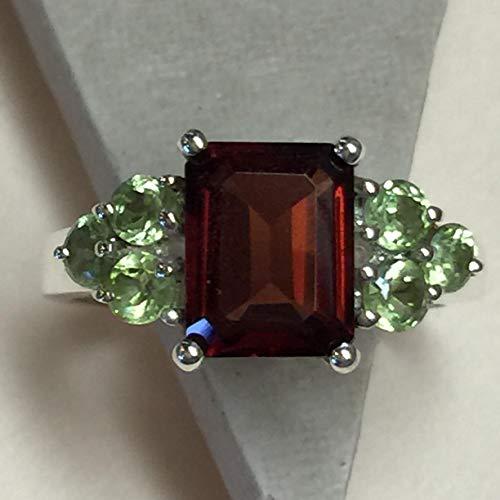 Estate Natural 4ct Rhodolite Garnet, Apple Green Peridot 925 Solid Sterling Silver Designer Ring sz 6, 8, 8.75, 9