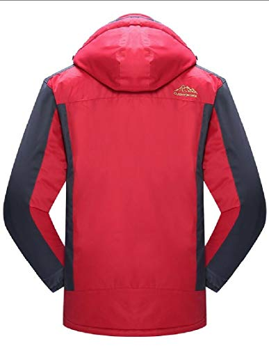Fleece Men's Windproof Hooded Rain Jacket TTYLLMAO Ski Jacket Waterproof Red gAZXwq