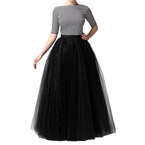 WDPL Women's Long Tutu Tulle Skirt A Line Floor Length Skirts (Black, Small)