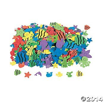 500 Under the Sea Foam Self-Adhesive Shapes/Peel Off Stickers/SCRAPBOOKING SUPPLIES/Dolphin/Octopus/Whale/Fish Shapes by Fun Express
