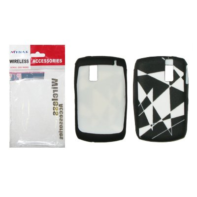 Black and White Abstract Design Silicone Gel Skin Cover Case for Blackberry Curve 8300/8310 / 8320/8330 [Mybat Brand]