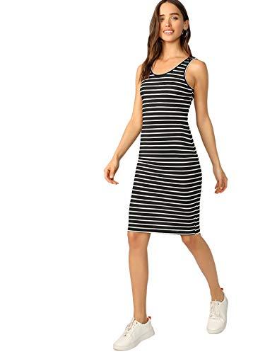 Floerns Women's Casual Striped Tank Bodycon Midi Dress Black and White M (Black And White Striped Midi Bodycon Dress)