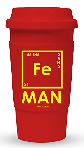 Funny Guy Mugs FE Iron Man Travel Tumbler With Removable Insulated Silicone Sleeve, Red, 16-Ounce