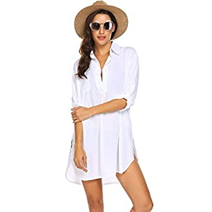 Ekouaer Women's Swimsuit Beach Cover Up Shirt Bikini Beachwear Bathing Suit Beach Dress S-XL