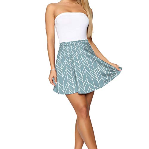 Blue Crazy Chevron Herringbone Geometric Pattern,Women's Basic Pleated Round Stretch Flare Skating Skirt School Ball