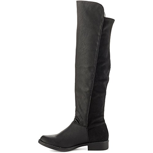 JustFab Just Fab Womens Laura Closed Toe Knee High Fashion Boots Black Ivs1SaGHL