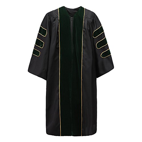 Annhiengrad Unisex Deluxe Doctoral Graduation Gown with Gold Piping,Green Velvet,48