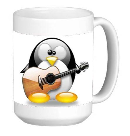 Cute Penguin Playing the Guitar 15 ounce Ceramic Coffee Mug Tea Cup