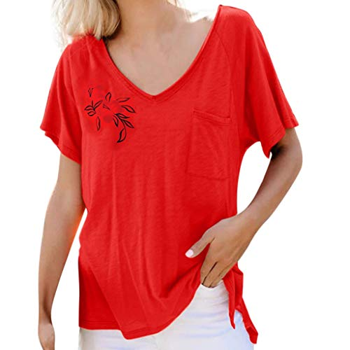 Nihewoo Women's T Shirt Plus Size Blouse Short Sleeve Top Circle Collar Print Tees Comfy Shirts Loose Fit Tunics Pullover Red