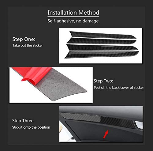 KIMISS 4 Pcs Door Side Carbon Fiber Decorative Cover Trim Frame Stickers for Audi A4 B8 2007-2016
