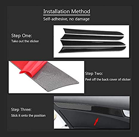 Suuonee Interior Trim Sticker 4 Pcs Car Door Side Carbon Fiber Decorative Cover Trim Frame for A4 B8 2007-2016