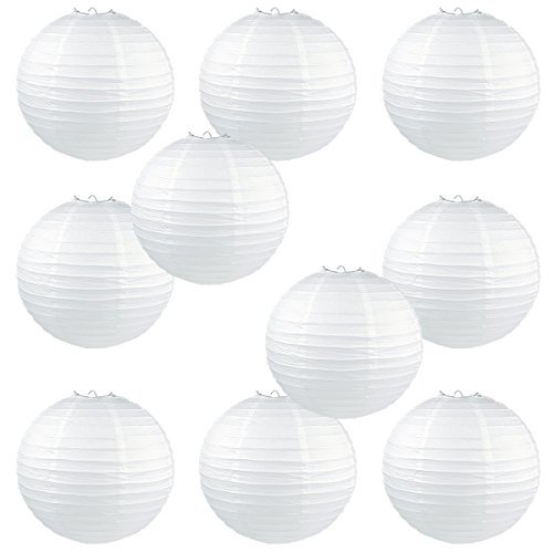 DoubleWin 12 Inch White Round Chinese Paper Lanterns (10 Pack) - Led Bulbs & Batteries NOT Included (Round Paper Battery Lantern)