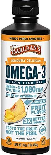 Barlean's Seriously Delicious Omega-3 Fish Oil, Mango Peach Smoothie, 16oz