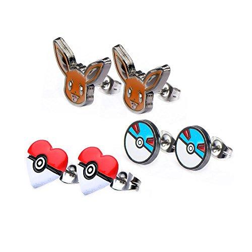 Pokemon Eevee Great Ball Poke Ball Heart Stainless Steel Stud Earrings Set