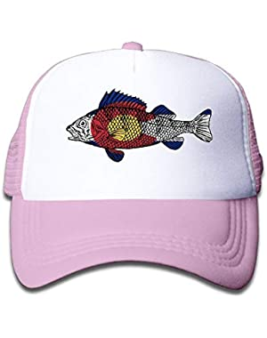Colorado Flag Fish On Boys and Girls Trucker Hat, Youth Toddler Mesh Hats Baseball Cap