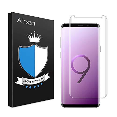 利用可能近々シャンパンGalaxy S9 Plus ガラスフィルム 全面粘着 ケースに干渉せず Alinsea Galaxy S9 Plus フィルム 優れたタッチ感度 粘着力強い Samsung Galaxy S9 Plus対応 6.2インチ
