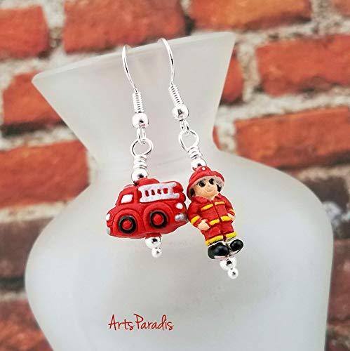 Ceramic Firefighter and Fire Truck Dangle Earrings by ArtsParadis - Fireman Firewoman Jewelry