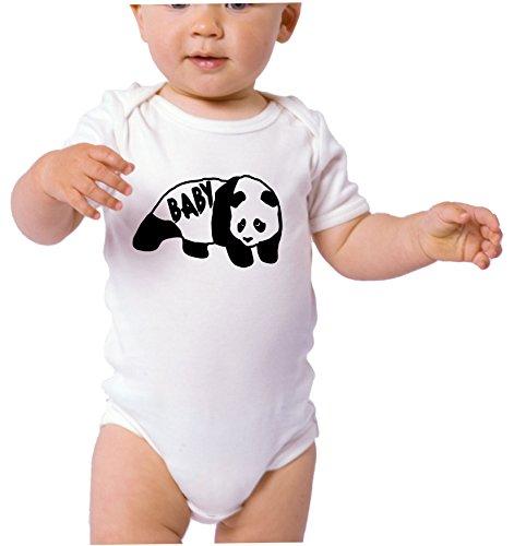 Papa Panda Bear. Baby Panda Bear. Cute Family T-shirts. Bodysuit. White T-shirt (6 Months Onesie, Baby Panda Bear) -