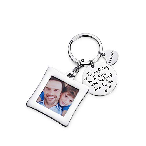 (Anniversary gifts for men - Everything I Am You Helped Me to Be Keychain & Unique Mini Photo Frame Key Chain,gifts for dad from daughter/son,new dad gifts,dad gifts,Christmas gifts. )