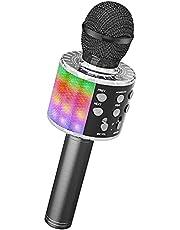 Ankuka Bluetooth karaokemicrofoon, draadloze microfoon met ingebouwde luidsprekers, handheld karaokemicrofoon voor zang en opname, home-party, compatibel met Android/iOS/PC, zwart