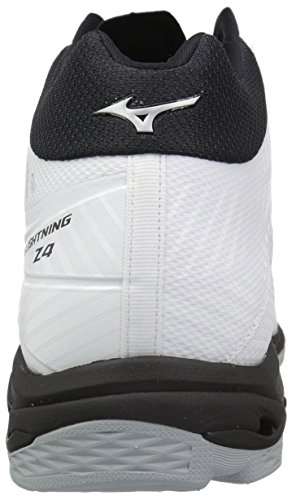 Mizuno Wave Lightning Z4 Mid Volleyball Shoes, White/Black, Men's 10 D US
