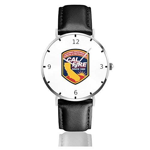 (Men's Fashion Minimalist Wrist Watch Cal Fire Southern California Strong Leather Strap Watch )