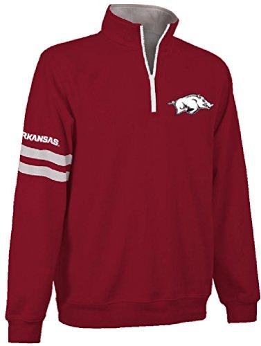 Arkansas Razorbacks Cardinal Stadium Embroidered Quarter Zip Pullover Sweatshirt (Small)