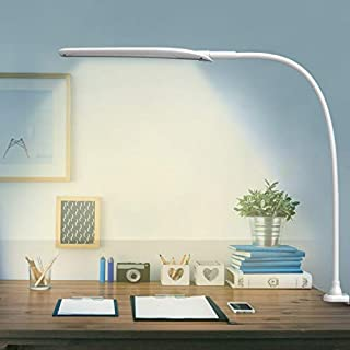 LED Desk Lamp with Clamp,Flexible Gooseneck Clamp Lamp,Dimmable,Touch Control 3 Color Modes,Eye-Care Table Light with Adjustable Arm,Architect Lamp for Home/Office/Workbench/Reading Working White