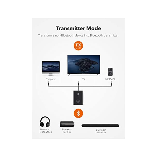 TaoTronics Bluetooth 5.0 Transmitter and Receiver  2-in-1 Wireless 3.5mm Adapter (Low Latency  2 Devices Simultaneously  For TV/Home Sound System/Car/Nintendo Switch)