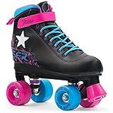 SFR Vision II Light Up Kids Quad Roller Skates - Black Pink Blue