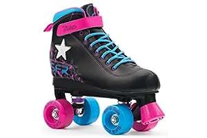 SFR Vision II Patines infantiles con luz, de 4 ruedas–negro, rosa, azul, UK 4 / EU 37