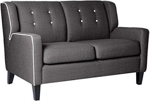 Homelegance 1218 Upholstered Love Seat, 53 W, Gray, Fabric