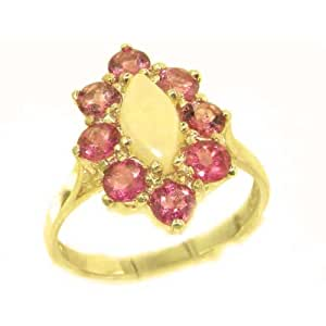 14k Yellow Gold Natural Opal and Pink Tourmaline Womens Cluster Ring - Sizes 4 to 12 Available