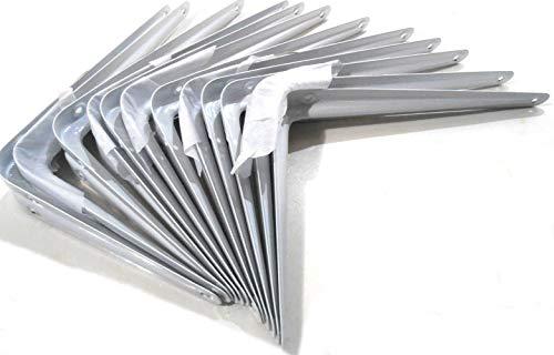 Havilah7 Shelf Brackets White Metal 6 Inch x 8 Inch Wall Support Steel Heavy Duty Corner Shelf Display Clock Case Showcase 12 Pcs