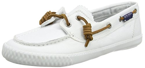 (Sperry Top-Sider Women's Sayel Away Washed White Boat Shoe 8.5 M (B))