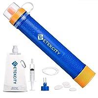 Paja con filtro de agua Etekcity con filtración de 3 etapas 1500L, 0.01 micrones, equipo de supervivencia de mini purificador personal para caminatas, campamentos, viajes, emergencia