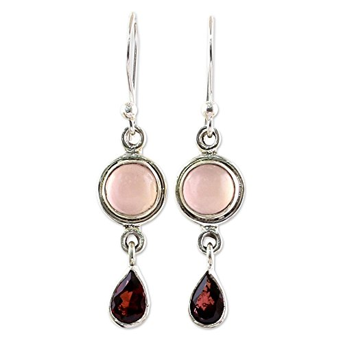 NOVICA Multi-Gem Chalcedony .925 Sterling Silver Dangle Earrings, Crimson Droplets'