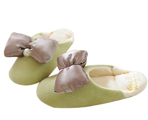 Ea @ Mercato Womens Bowknot Peluche Scarpetta Casa Carino Stile Principessa Pantofola Verde