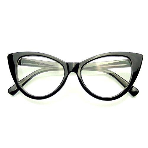Fashion Classic Vintage Eyewear Cat Eye Designer Shades Frame Sunglasses (Clear Black, - Frames Librarian Glasses