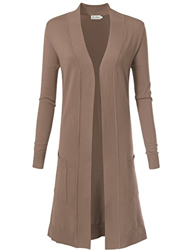 ARC Studio Women's Solid Soft Stretch Longline Long Sleeve Open Front Cardigan M Camel