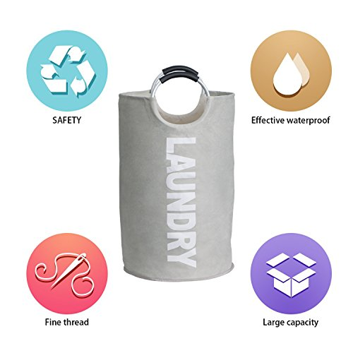 Raimodiüs Laundry Hamper,Clothes Hamper,Collapsible and Waterproof Clothes Bag.Round Handles for easy carrying.Suitable for Dorms and Travel.(Grey) by Raimodiüs (Image #5)
