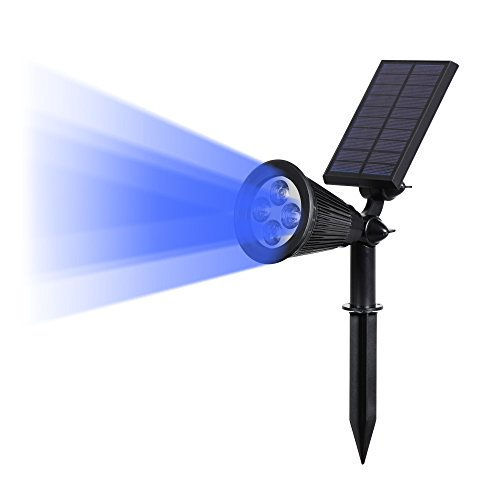 Blue Wall Torch (T-SUN Solar LED Outdoor Spotlight Wall Light, IP65 Waterproof,Auto-on At Night/Auto-off By Day,180°angle Adjustable for Tree, Patio, Yard, Garden, Driveway, Stairs, Pool Area (Blue) (1))