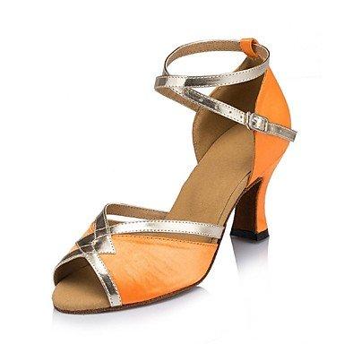 XIAMUO Nicht anpassbare Damen Tanzschuhe Latein Wildleder/Leder Cuban Heel Lila/Orange, Orange, Us5.5/EU36/UK3.5/CN 35